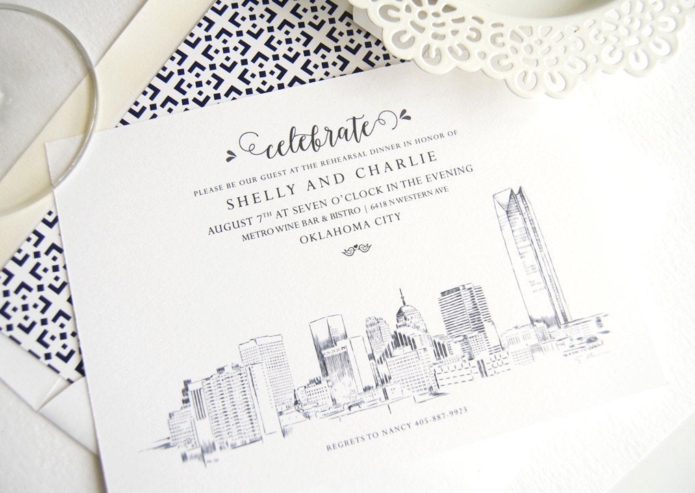 Oklahoma City Skyline Weddings Rehearsal Dinner Invitations (set of 25 cards)