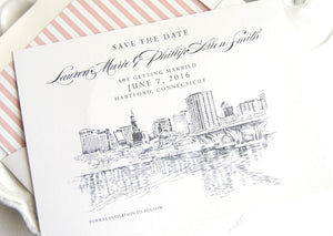 Hartford, Conneticut Skyline Save the Date Cards (set of 25 cards and white envelopes)