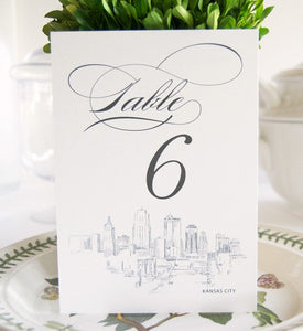 Kansas City Skyline Table Numbers (1-10)