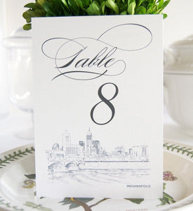 Indianapolis Skyline Table Numbers (1-10)