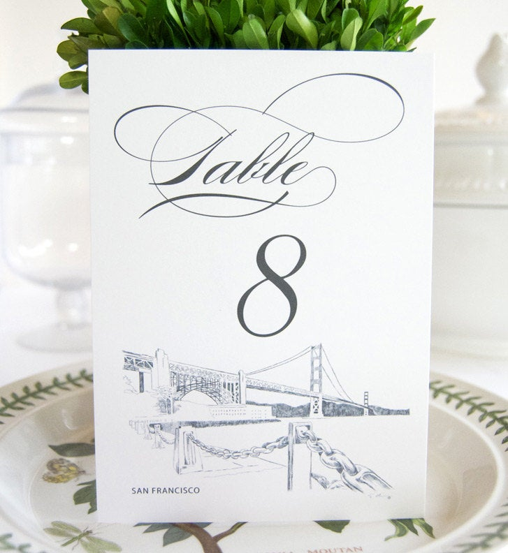 San Francisco Skyline Table Numbers (1-10)