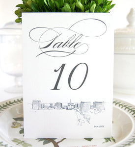 San Jose Skyline Table Numbers (1-10)