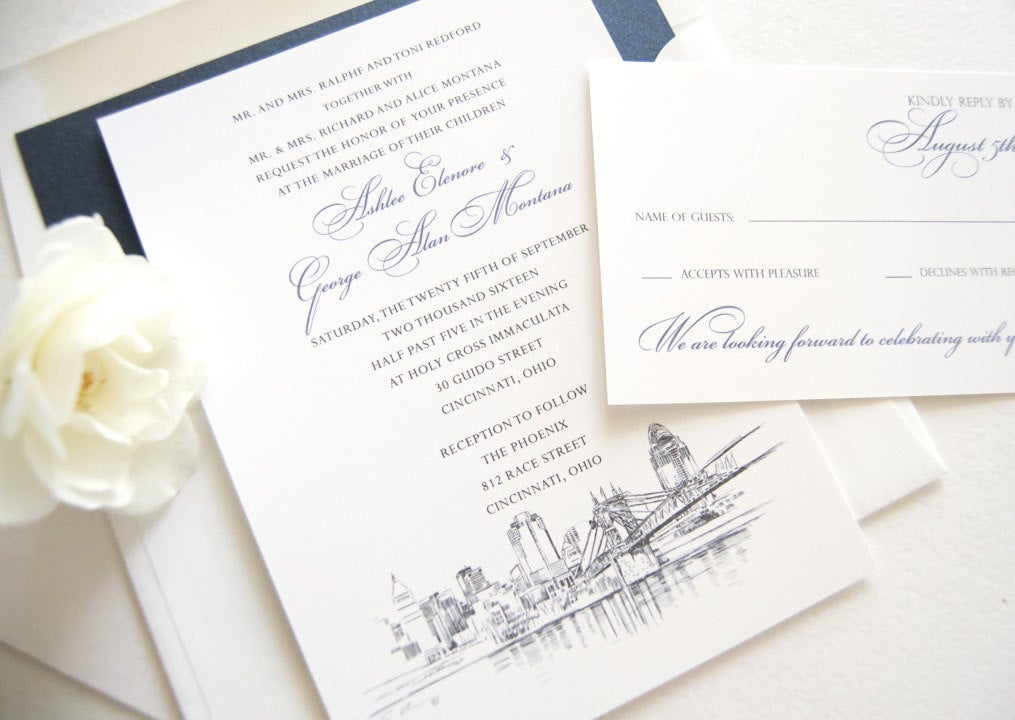 Cincinnati Skyline Wedding Invitations Package - Hand Drawn (Sold in Sets of 10 Invitations, RSVP Cards + Envelopes)