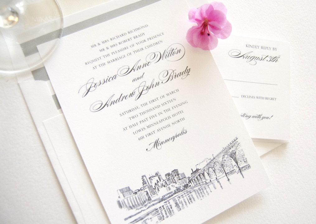 Minneapolis Skyline Wedding Invitation, Minneapolis Wedding, Invite (Sold in Sets of 10 Invitations, RSVP Cards + Envelopes)