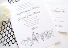 Load image into Gallery viewer, Houston Skyline Wedding Invitations Package (Sold in Sets of 10 Invitations, RSVP Cards + Envelopes)