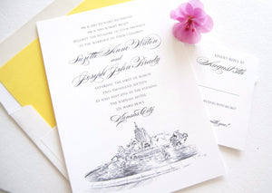 Kansas City Fountain Skyline Wedding Invitations Package (Sold in Sets of 10 Invitations, RSVP Cards + Envelopes)