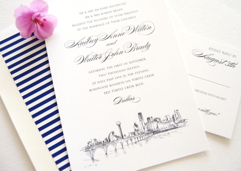 Dallas Skyline Hand Drawn Wedding Invitation Package (Sold in Sets of 10 Invitations, RSVP Cards + Envelopes)
