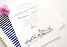 Load image into Gallery viewer, Dallas Skyline Hand Drawn Wedding Invitation Package (Sold in Sets of 10 Invitations, RSVP Cards + Envelopes)