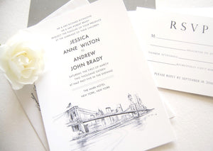 New York City Skyline Wedding Invitation, New York Wedding, NYC Wedding (Sold in Sets of 10 Invitations, RSVP Cards + Envelopes)