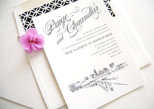 Austin, Texas Skyline Wedding Invitations Package (Sold in Sets of 10 Invitations, RSVP Cards + Envelopes)