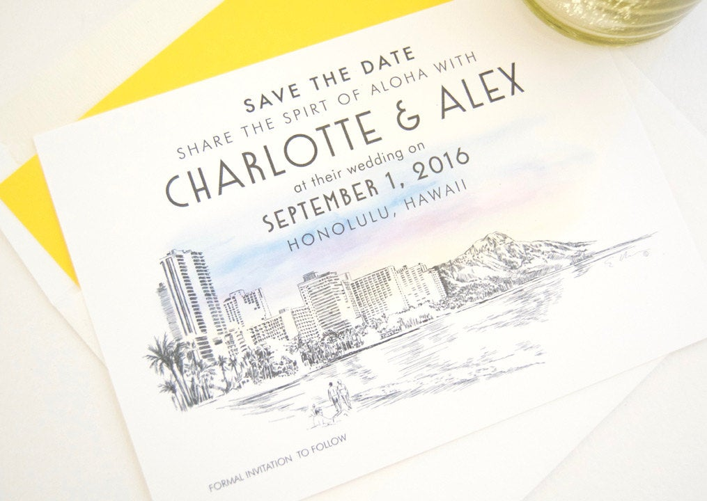 Hawaii Destination Wedding Save the Date Cards (set of 25 cards)