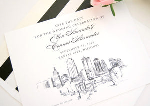 Kansas City Skyline Save the Date Cards (set of 25 cards)