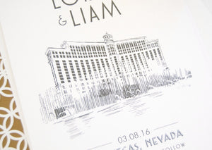 Las Vegas Bellagio Hotel Skyline Starry Night Hand Drawn Save the Date Cards (set of 25 cards)