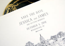 Load image into Gallery viewer, Washington DC Capital Hill Save the Dates, DC Wedding Skyline, DC Save the Date, Save the Date Cards, dc std (set of 25 cards, envelopes)