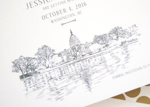 Washington DC Capital Hill Save the Dates, DC Wedding Skyline, DC Save the Date, Save the Date Cards, dc std (set of 25 cards, envelopes)