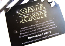 Load image into Gallery viewer, Star Wars Inspired, May the Force be with you, Lightsaber, The Force Awakens Wedding Save the Date Cards (set of 25 cards)