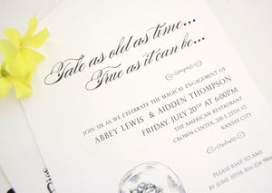 Beauty and the Beast Engagement Party Invitations, Fairytale Wedding Engagement Announcements (set of 25 cards)