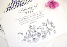 Load image into Gallery viewer, Boston Skyline Rehearsal Dinner Invitations (set of 25 cards)