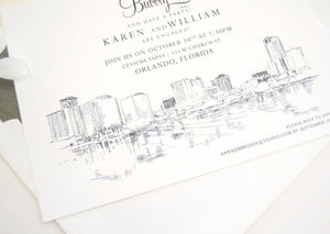 Orlando Skyline Engagement Party Invitations, Orlando Engagement Announcements You Design it! (set of 25 cards)