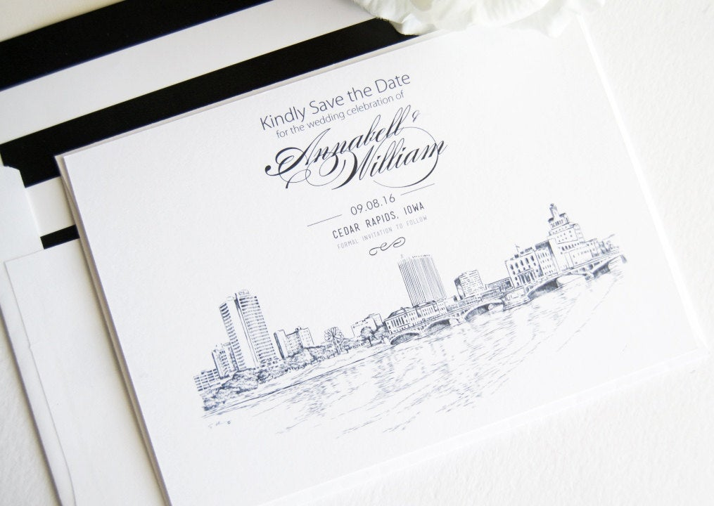 Cedar Rapids, Iowa Skyline Save the Date Cards (set of 25 cards)