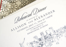 Load image into Gallery viewer, Birmingham Skyline Rehearsal Dinner Invitations (set of 25 cards)