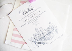 Boston Water View Skyline Rehearsal Dinner Invitations (set of 25 cards)