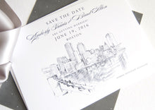 Load image into Gallery viewer, Boston Water View Skyline Hand Drawn Save the Date Cards (set of 25 cards)