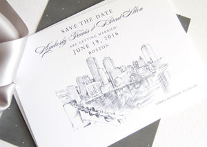 Boston Water View Skyline Hand Drawn Save the Date Cards (set of 25 cards)