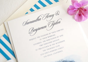 Thursday Club, San Diego Wedding Invitation Package (Sold in Sets of 10 Invitations, RSVP Cards + Envelopes)