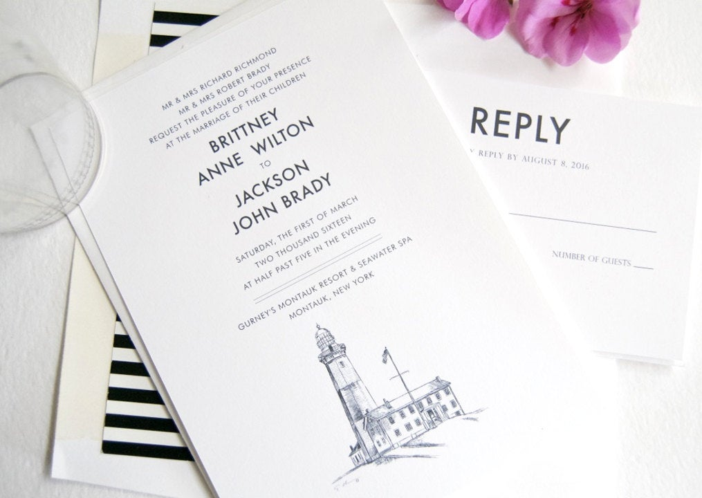 Montauk Lighthouse, Long Island, New York  Skyline Wedding Invitations Package (Sold in Sets of 10 Invitations, RSVP Cards + Envelopes)