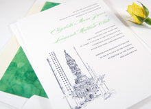 Load image into Gallery viewer, Philadelphia City Hall Skyline Wedding Invitation, Philadelphia Wedding Invitations (Sold in Sets of 10 Invitations, RSVP Cards + Envelopes)
