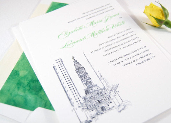 Philadelphia City Hall Skyline Wedding Invitation, Philadelphia Wedding Invitations (Sold in Sets of 10 Invitations, RSVP Cards + Envelopes)