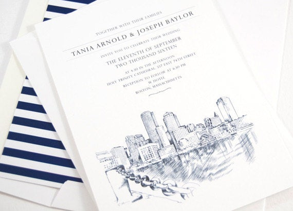 Boston Wedding Invitations, Water View Wedding Invitation, Boston Wedding, Boston Skyline  (Sold in Sets of 10 Invitations, RSVP Cards)