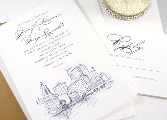 Providence Skyline Wedding Invitation Package (Sold in Sets of 10 Invitations, RSVP Cards + Envelopes)