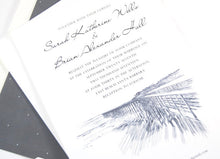 Load image into Gallery viewer, Santa Barbara Pier Hand Drawn Wedding Invitations Package (Sold in Sets of 10 Invitations, RSVP Cards + Envelopes)