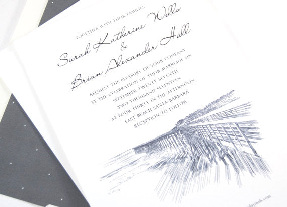 Santa Barbara Pier Hand Drawn Wedding Invitations Package (Sold in Sets of 10 Invitations, RSVP Cards + Envelopes)