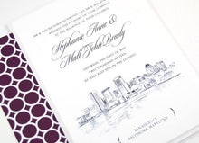 Load image into Gallery viewer, Baltimore Skyline Wedding Invitation, Baltimore Wedding, Invite (Sold in Sets of 10 Invitations, RSVP Cards + Envelopes)