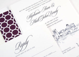 Baltimore Skyline Wedding Invitation, Baltimore Wedding, Invite (Sold in Sets of 10 Invitations, RSVP Cards + Envelopes)