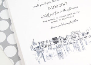 Madison, Wisconsin Skyline Hand Drawn Wedding Invitations Package (Sold in Sets of 10 Invitations, RSVP Cards + Envelopes)