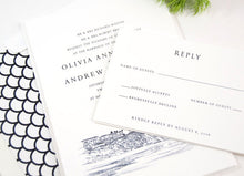 Load image into Gallery viewer, Laguna Beach Skyline Hand Drawn Wedding Invitations Package (Sold in Sets of 10 Invitations, RSVP Cards + Envelopes)