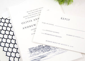 Laguna Beach Skyline Hand Drawn Wedding Invitations Package (Sold in Sets of 10 Invitations, RSVP Cards + Envelopes)