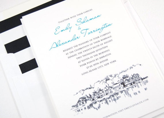 Philadelphia Boathouse Row Wedding Invitations Package (Sold in Sets of 10 Invitations, RSVP Cards + Envelopes)