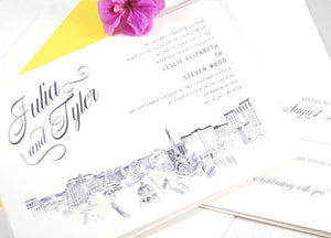 Las Vegas Skyline Destination Wedding Invitation, Vegas Wedding, Invite  (Sold in Sets of 10 Invitations, RSVP Cards + Envelopes)