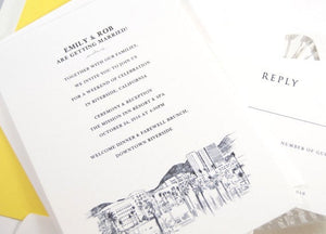 Riverside Wedding Invitations Package (Sold in Sets of 10 Invitations, RSVP Cards + Envelopes)