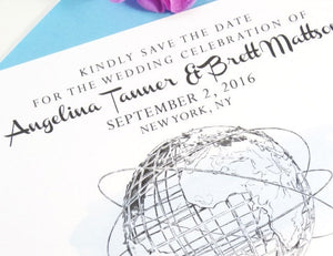 Queens Museum,  New York, Unisphere, Worlds Fair Drawn Save the Date Cards (set of 25 cards)