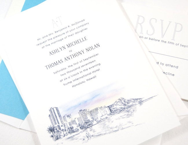 Hawaii Skyline Destination Wedding Invitations Package (Sold in Sets of 10 Invitations, RSVP Cards + Envelopes)