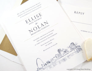 St. Louis Skyline Wedding Invitation, Saint Louis Weddings, Missouri (Sold in Sets of 10 Invitations, RSVP Cards + Envelopes)