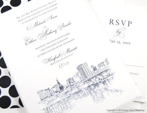 Hartford, Connecticut  Skyline Wedding Invitations Package (Sold in Sets of 10 Invitations, RSVP Cards + Envelopes)