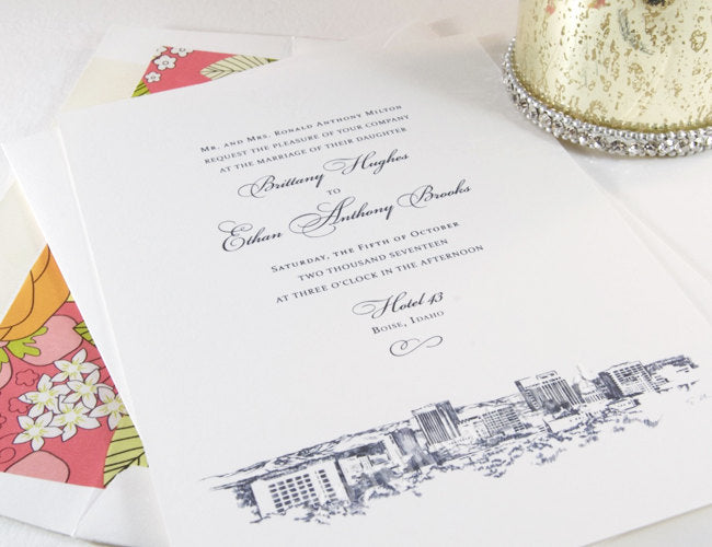 Boise Skyline Wedding Invitations Package (Sold in Sets of 10 Invitations, RSVP Cards + Envelopes)