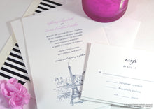 Load image into Gallery viewer, Paris Skyline Wedding Invitations Package (Sold in Sets of 10 Invitations, RSVP Cards + Envelopes)